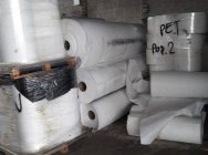 PET non-woven fabric on rollers