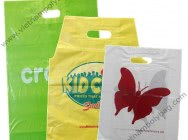 Shopping plastic bag with handle