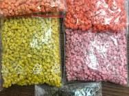 ПЭВП реранулят с добавлением ПЭНП оранжевого, розового, желтого, коричневого цвета