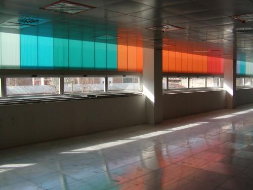 Fasada wewnętrzna, budynek przemysłowy w Barcelonie