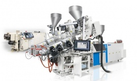 KraussMaffei Berstorff coextrusion combination for profile production in twin strand