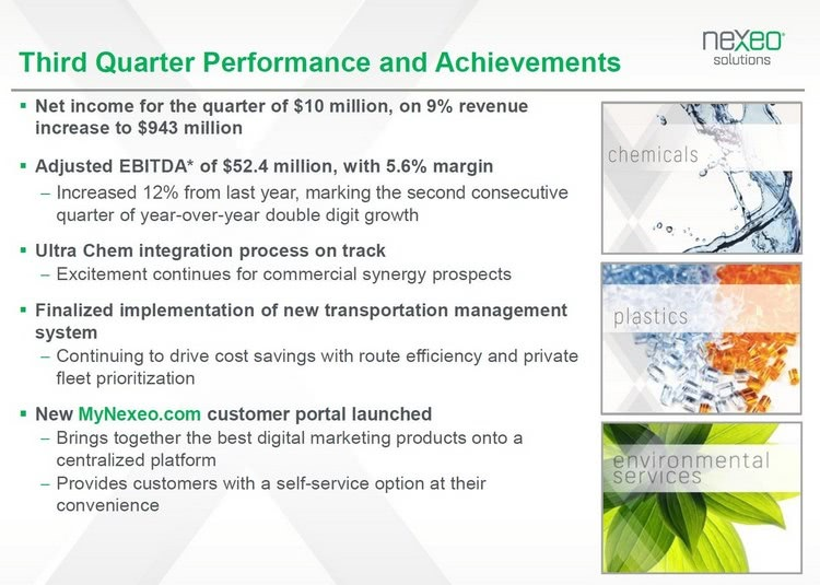 Third quarter performance of Nexeo Solutions