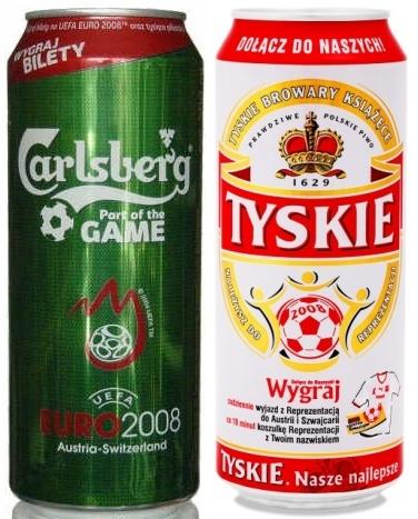 Opakowania na Euro 2008 - puszki piwa Carlsberg i Tyskie