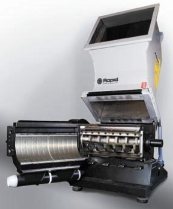 The Rapid 100 Series is a completely new line of slow speed, screenless granulators with Integrated Metal Detection (IMD), for beside-the-press applications, designed specifically to grind hard and brittle materials