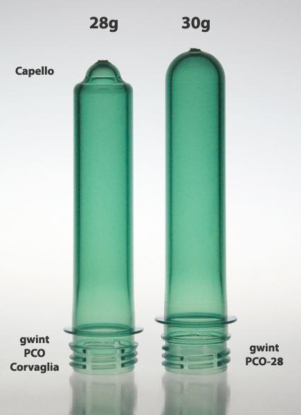 Porównanie preformy PET z gwintem PCO-28 z preformą PCO Corvaglia i Capello