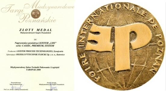 Dyplom i medal targów Taropak za nagrzewnice Leister
