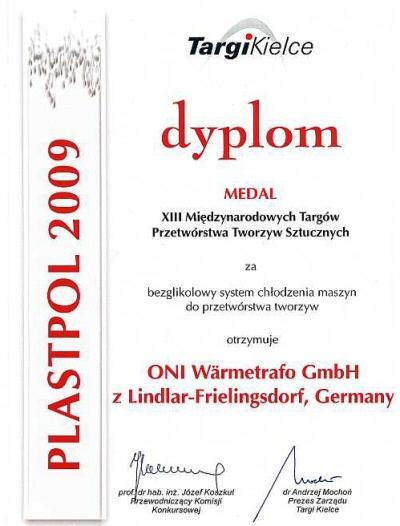 Dyplom Targów Plastpol 2009 dla firmy ONI