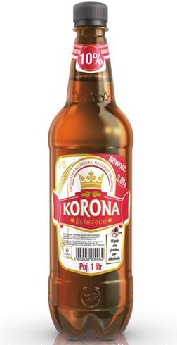 Piwo Korona Książęca w litrowym opakowaniu PET