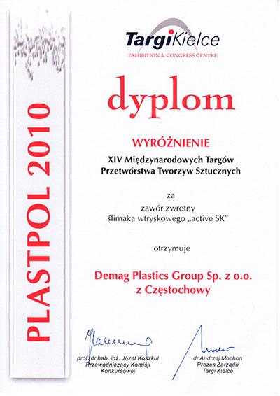 Dyplom targów Plastpol 2010 dla firmy Demag