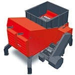 Plastics shredder with modular pressing system