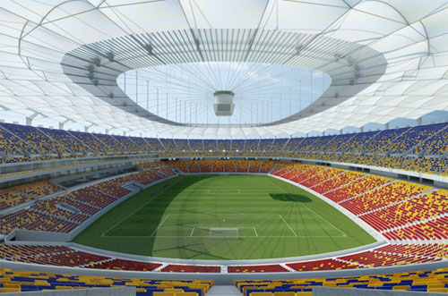The Makrolon sheets used for the roofs above the stands at the new National Stadium in Romania are 8 mm thick and up to 12 m long. These transparent lightweights emphasize the innovative design of the Lia Manoliu Stadium with its striking combination of flexibility, lightness and brightness