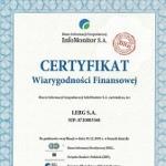 Lerg z Certyfikatem Wiarygodności Finansowej