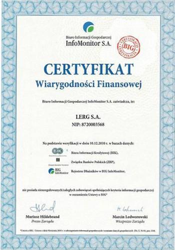 Certyfikat wiarygodności finansowej Lerg