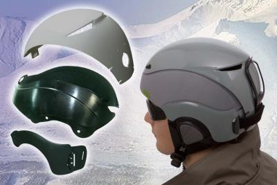 Czteroczęściowy kask do sportów zimowych wykonany z DuPont™ Zytel®