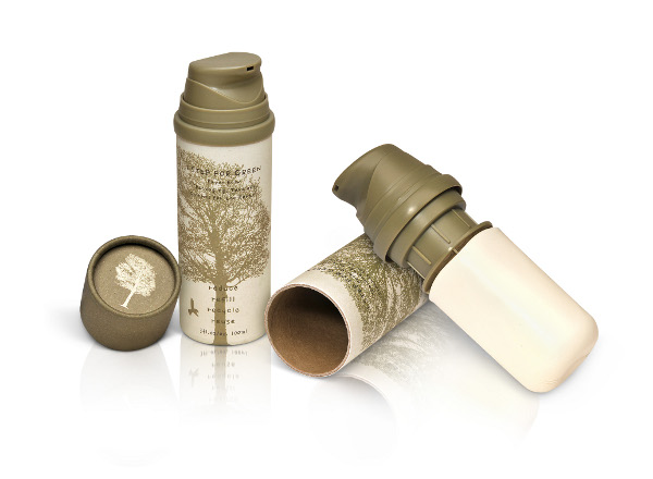 Sustainable Packaging:Paper Blow eco-friendly 100ml airless pack, Refill, Reuse, Reduce, Recycle.<br />