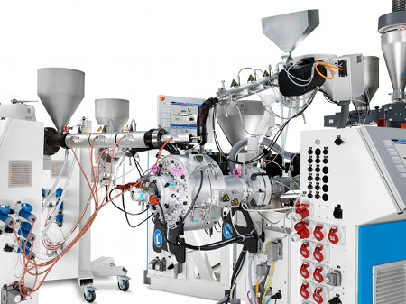 KraussMaffei Berstorff single-screw extruder combination with 5-layer pipe head 5L RKW 31 – 40