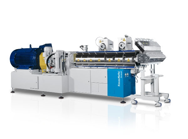 Twin-screw extruder for PVC compounding with a high share of mineral fillers