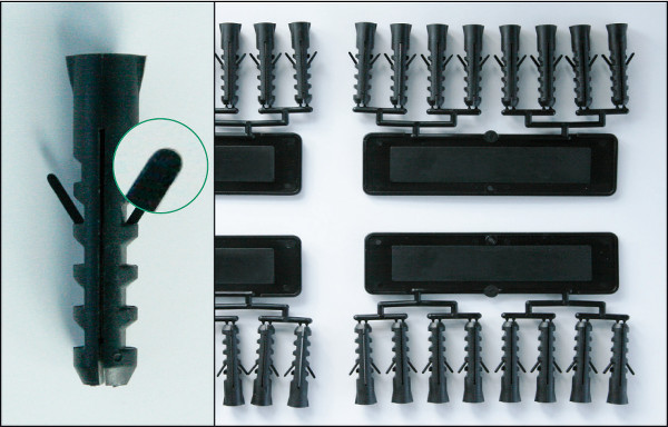Wall plugs from the injection moulding process with the machine function activeFlowBalance