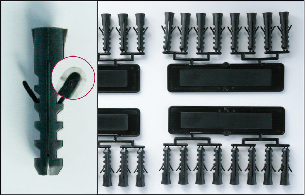 Wall plugs from injection moulding process without activeFlowBalance