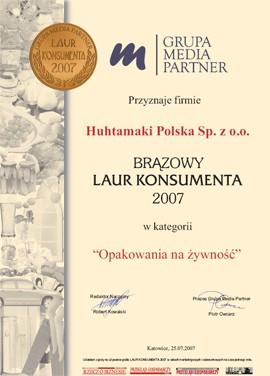dyplom dla firmy Huhtamaki