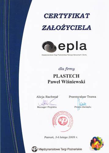 Funder's Certificate of the   	 EPLA 2009 - International Fair of Plastics and Rubber Processing EPLA